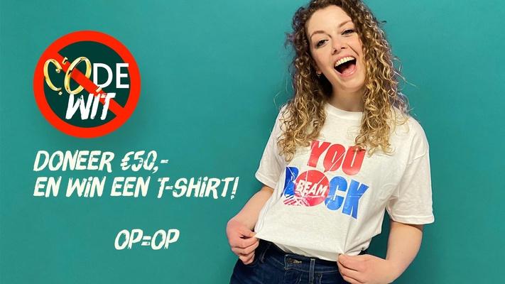 Krijg een 'You Rock' T-shirt bij een gift van €50 voor Code Wit (OP=OP!)